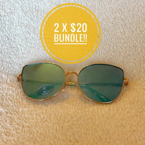 179e08368b9 NWT Aldo Mirrored blue n gold cat eye sunglasses